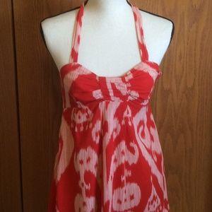 Anthropologie Maeve  Red Ikat Halter Dress